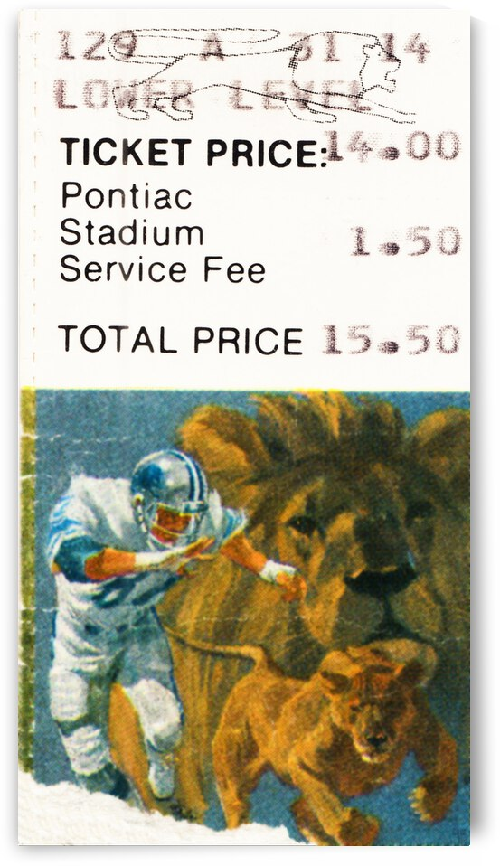 1987 Detroit Lions Football Ticket Art by Row One Brand