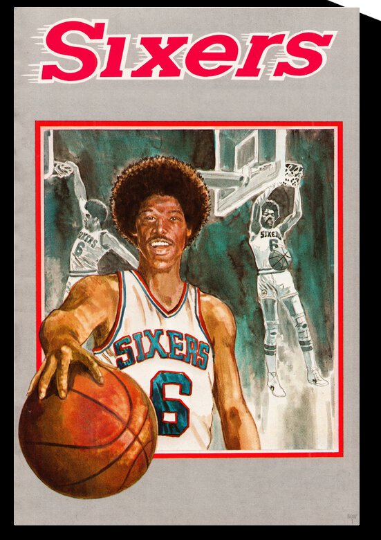 1979 Julius Erving Sixers Basketball Art by Row One Brand