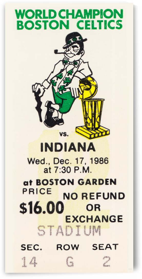 1986 Boston Celtics vs. Indiana Pacers Ticket Art by Row One Brand