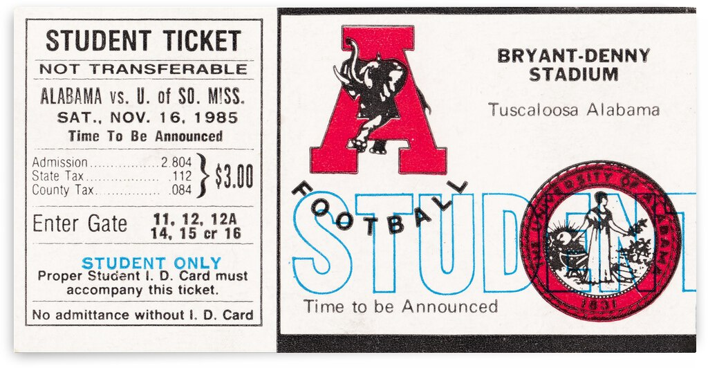 1985 Alabama Crimson Tide vs. Southern Miss Golden Eagles by Row One Brand