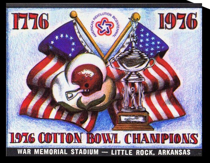 1976 Arkansas Razorbacks Ticket Stub Art by Row One Brand