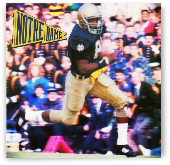 Retro Notre Dame Tim Brown Football Art by Row One Brand
