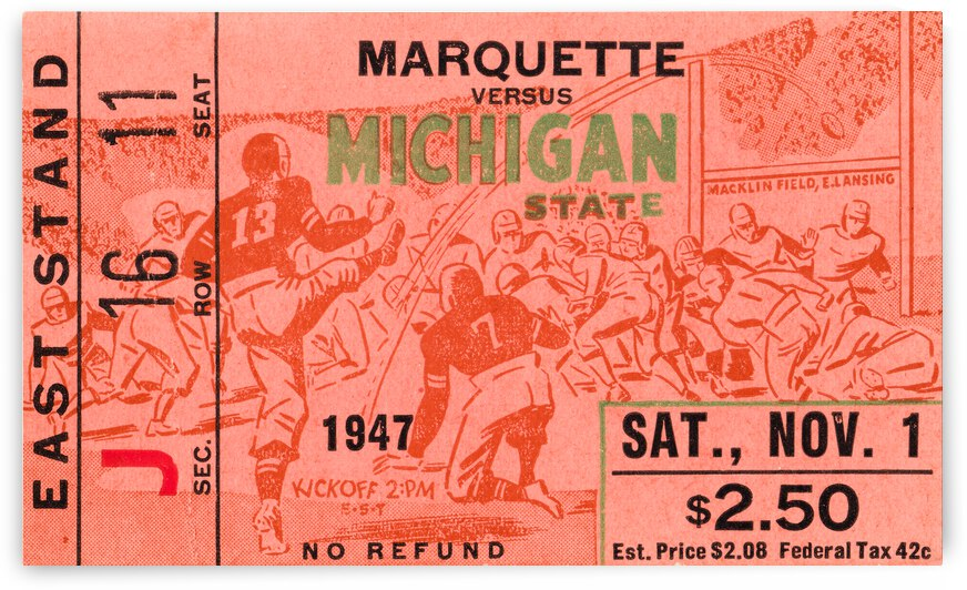 1947 Michigan State Spartans vs. Marquette Hilltoppers  by Row One Brand