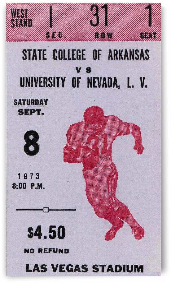 1973 UNLV Rebels vs. Central Arkansas Bears Football Ticket Art by Row One Brand