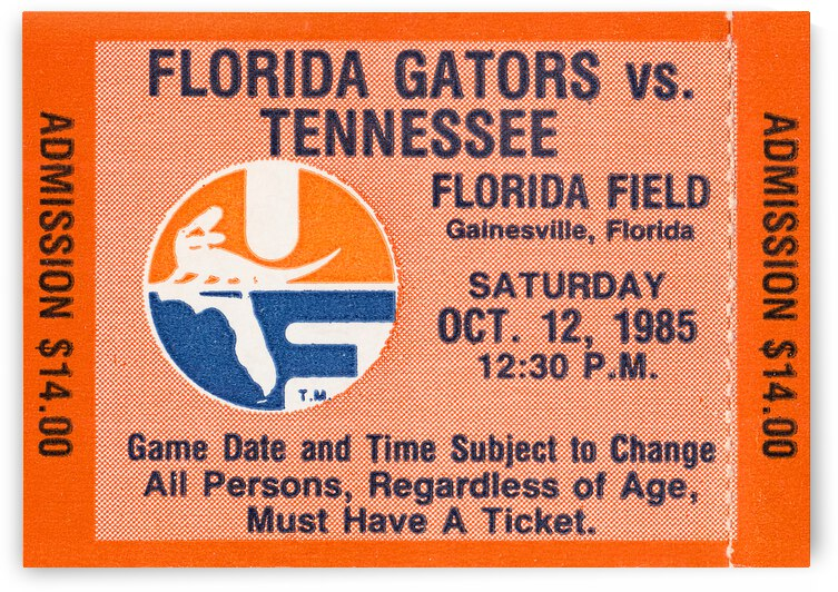 1985 Florida Gators vs. Tennessee Vols by Row One Brand