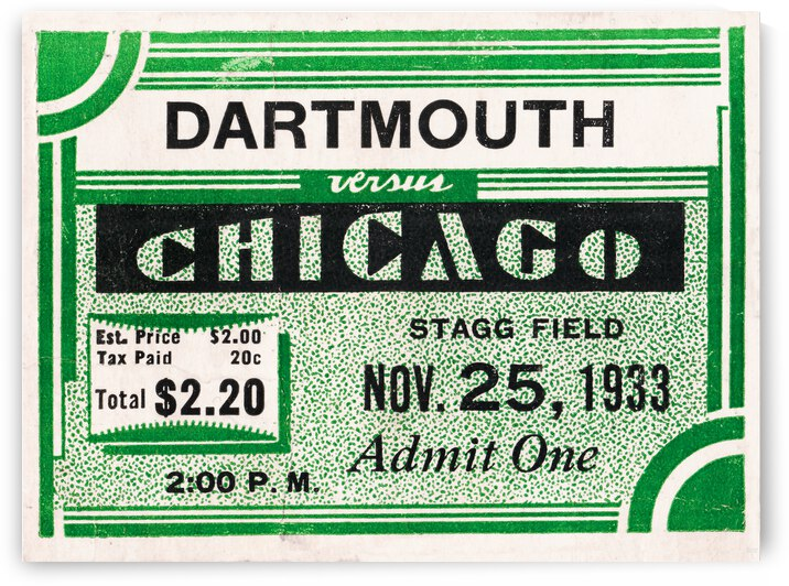 1933 Dartmouth Indians vs. Chicago Maroons by Row One Brand