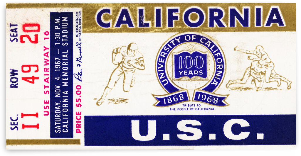1967 California Bears vs. USC Trojans by Row One Brand
