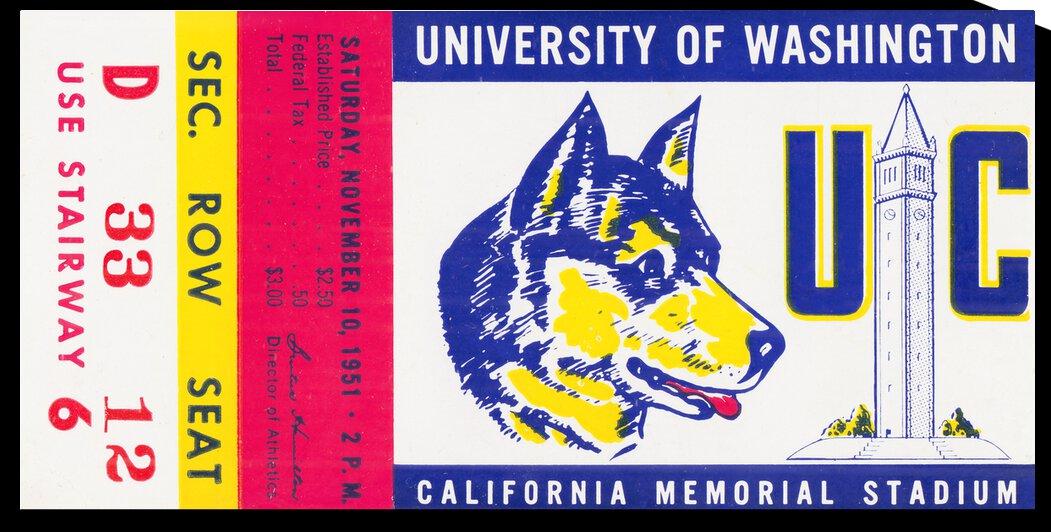 1951 California Bears vs. Washington Huskies by Row One Brand