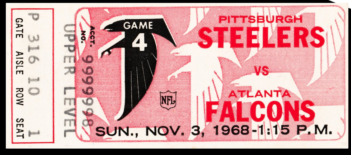 1968 Atlanta Falcons vs. Pittsburgh Steelers Ticket Art by Row One Brand