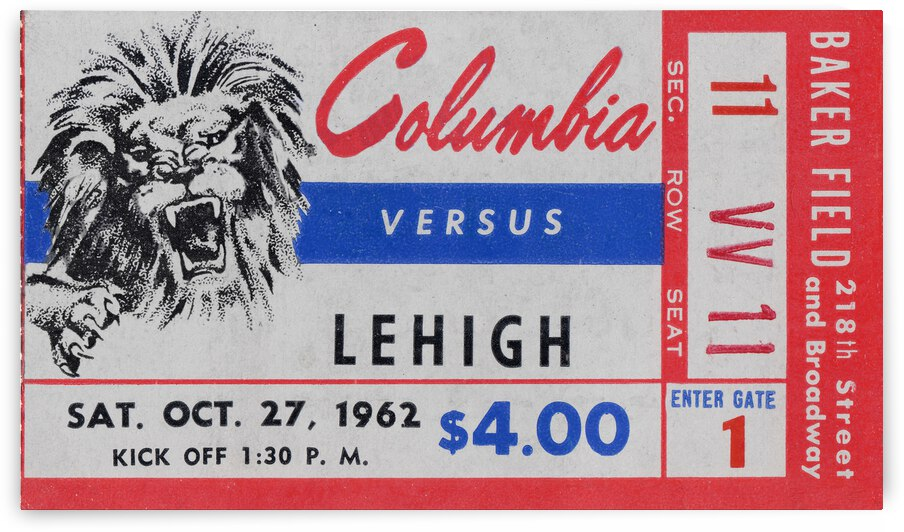 1962 Columbia Lions vs. Lehigh Engineers by Row One Brand