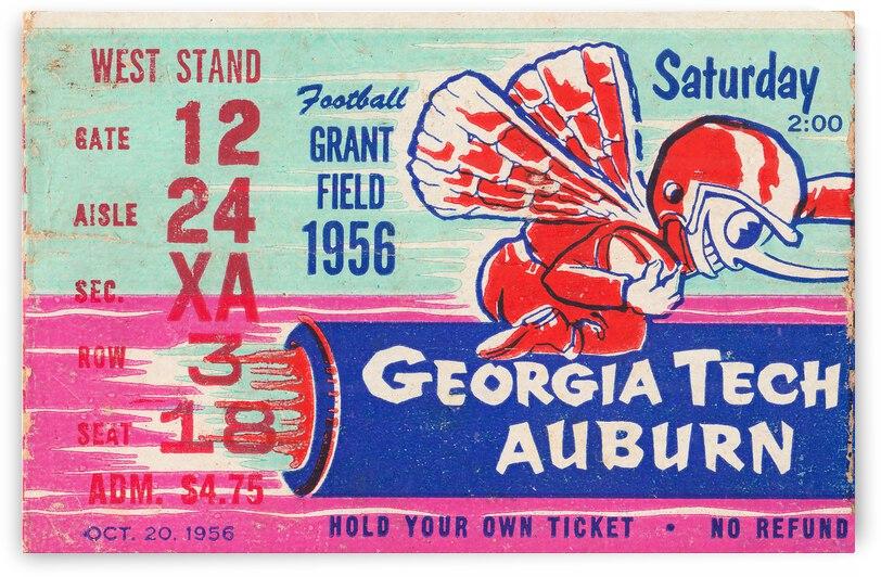 1956 Georgia Tech vs. Auburn Football Ticket Stub Art by Row One Brand