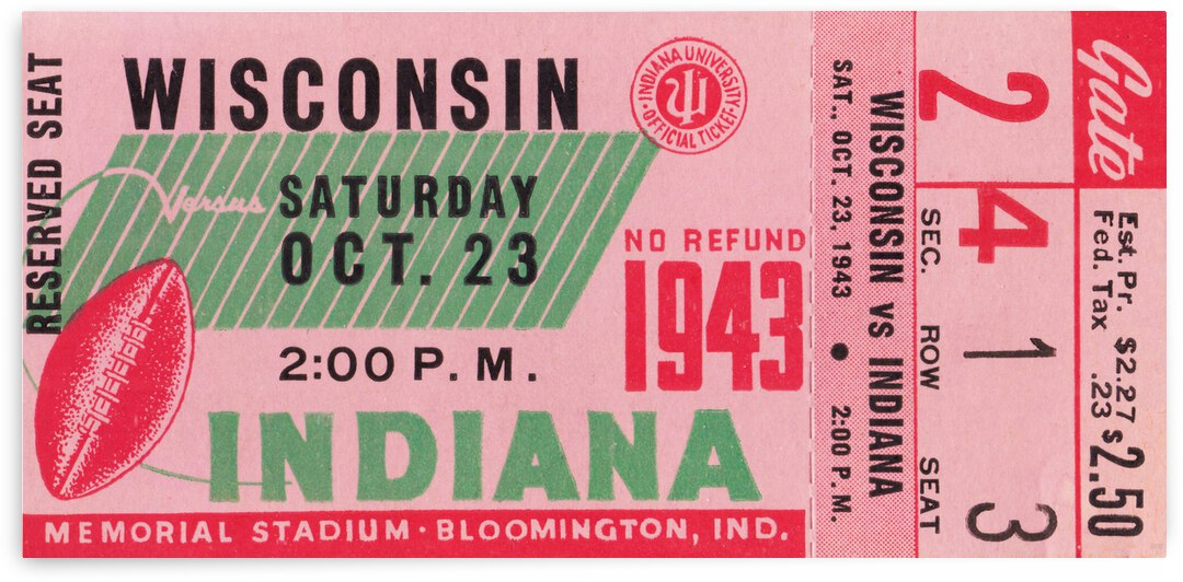 1943 Indiana Hoosiers vs. Wisconsin Badgers by Row One Brand
