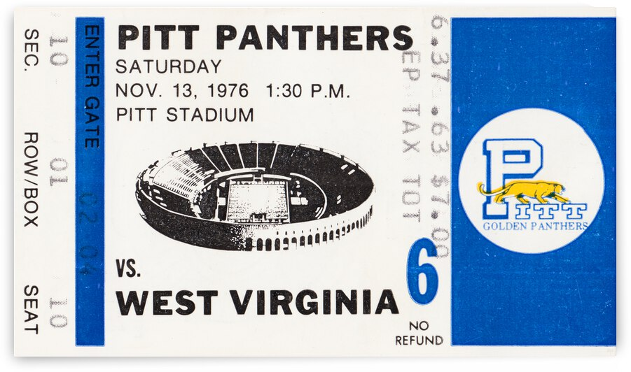 1976 Pittsburgh Panthers vs. West Virginia Mountaineers by Row One Brand