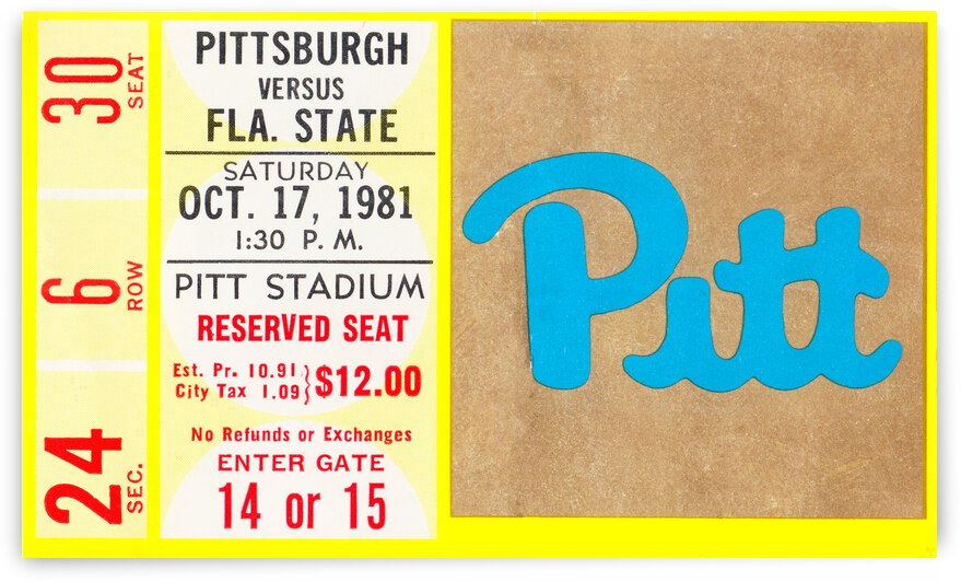1981 Pitt Panthers vs. Florida State Seminoles by Row One Brand