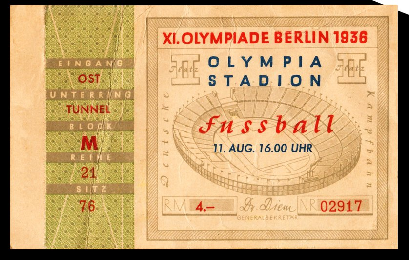1936 Olympic Soccer Ticket Stub Art by Row One Brand