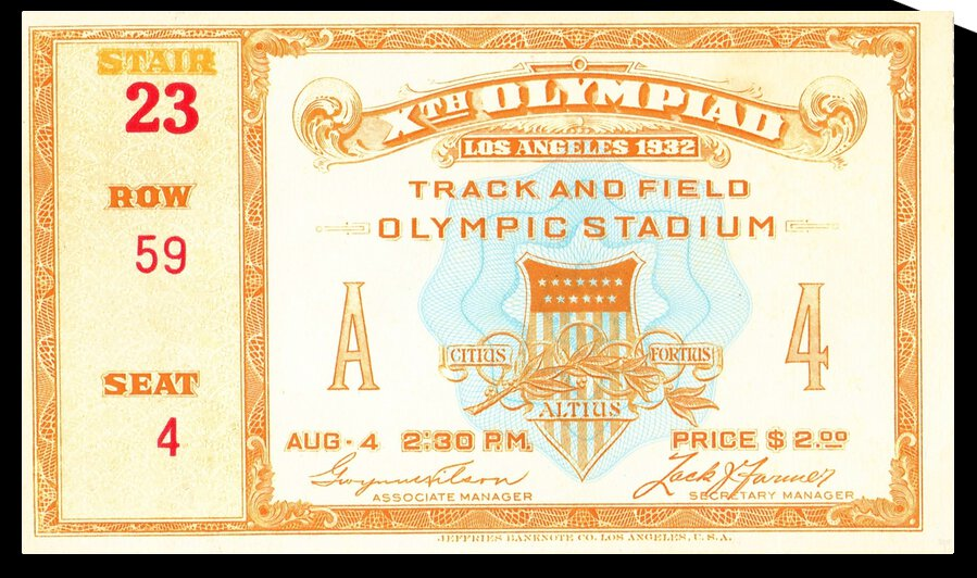 1932 Olympic Track and Field Ticket Stub Art by Row One Brand