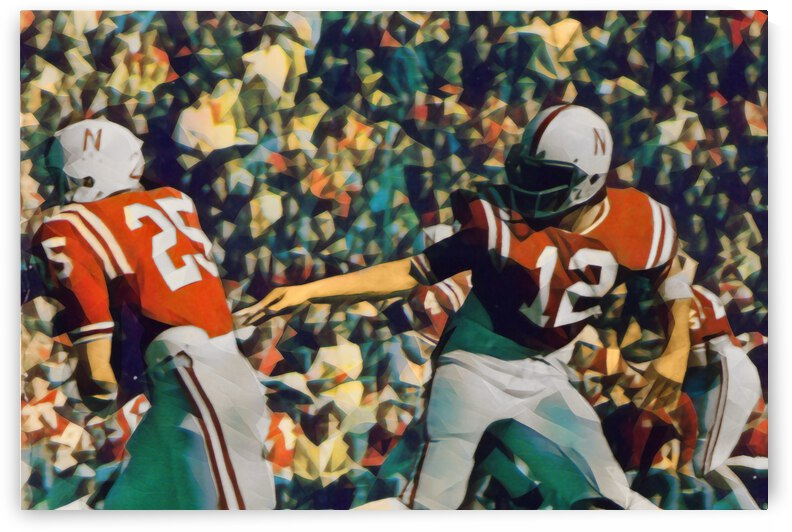 Retro Nebraska Football Art  by Row One Brand