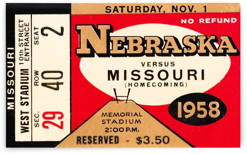 1958 Nebraska Cornhuskers vs. Missouri Tigers by Row One Brand