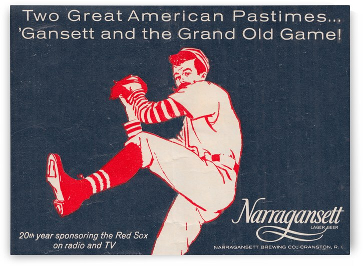 1964 Vintage Narragansett Beer Red Sox Ad by Row One Brand