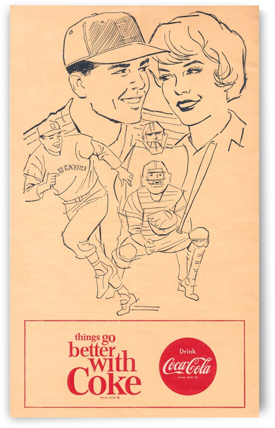 1964 Vintage Coke Baseball Ad by Row One Brand