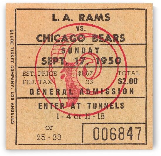 1950 LA Rams vs. Chicago Bears Ticket Stub Art by Row One Brand
