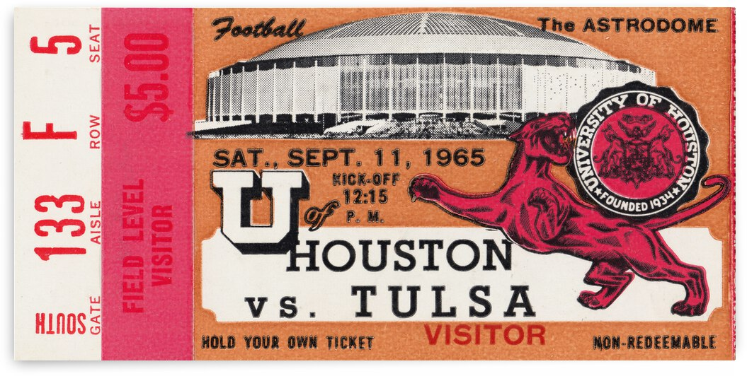 1965 Houston Cougars First Football Game in Astrodome by Row One Brand