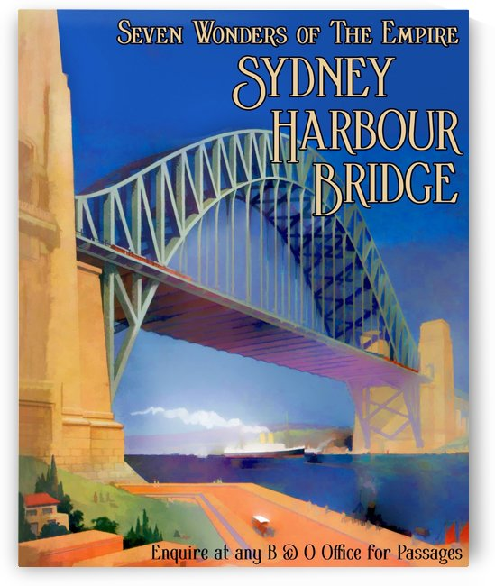 Sydney Harbour Bridge Vintage Travel Poster by VINTAGE POSTER