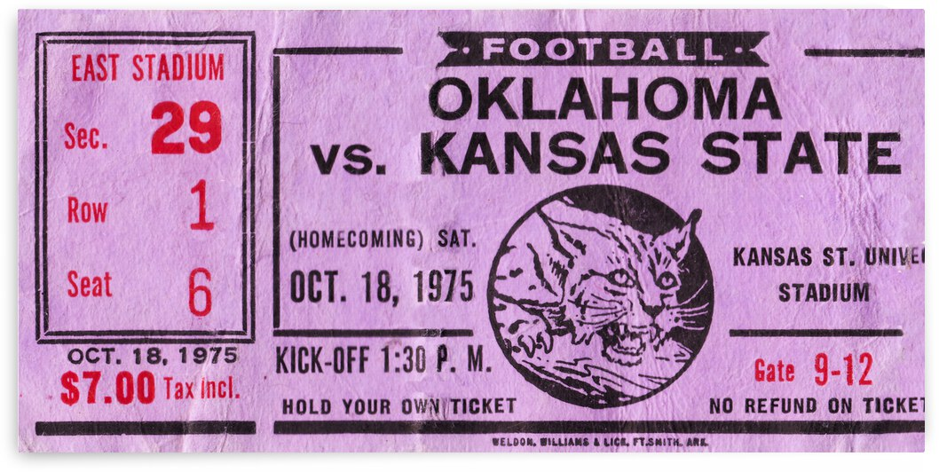 1975 Oklahoma Sooners vs. Kansas State Wildcats by Row One Brand