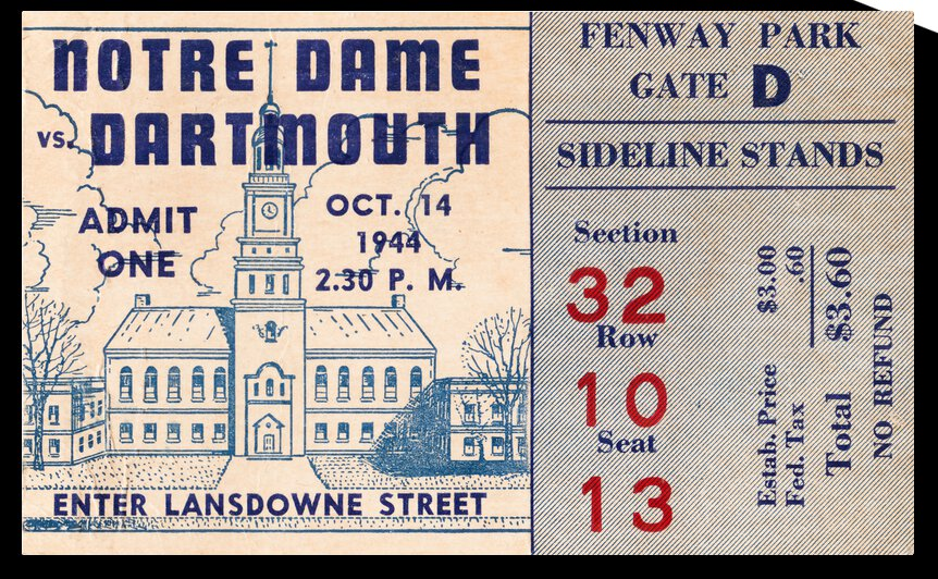 1944 Dartmouth vs. Notre Dame  by Row One Brand