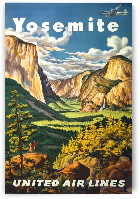 Yosemite United Air Lines travel poster by VINTAGE POSTER