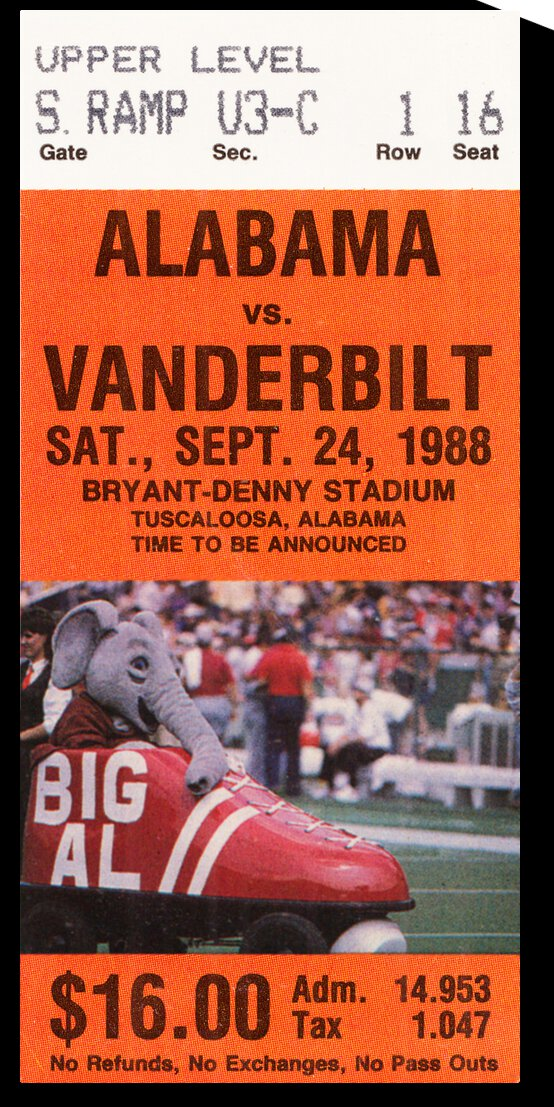 1988 Vanderbilt vs. Alabama Football Ticket Art by Row One Brand