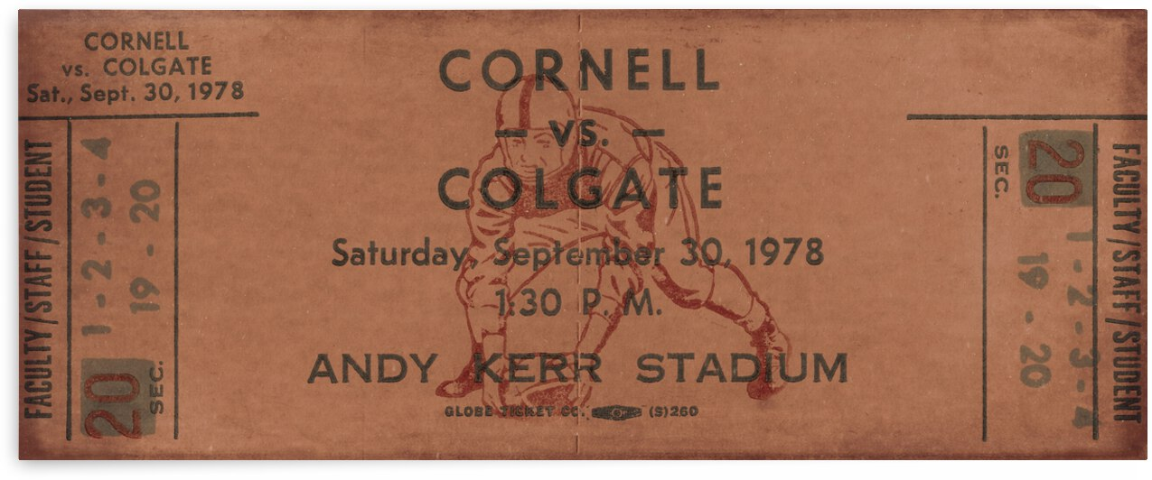 1978 Cornell Big Red vs. Colgate Red Raiders by Row One Brand