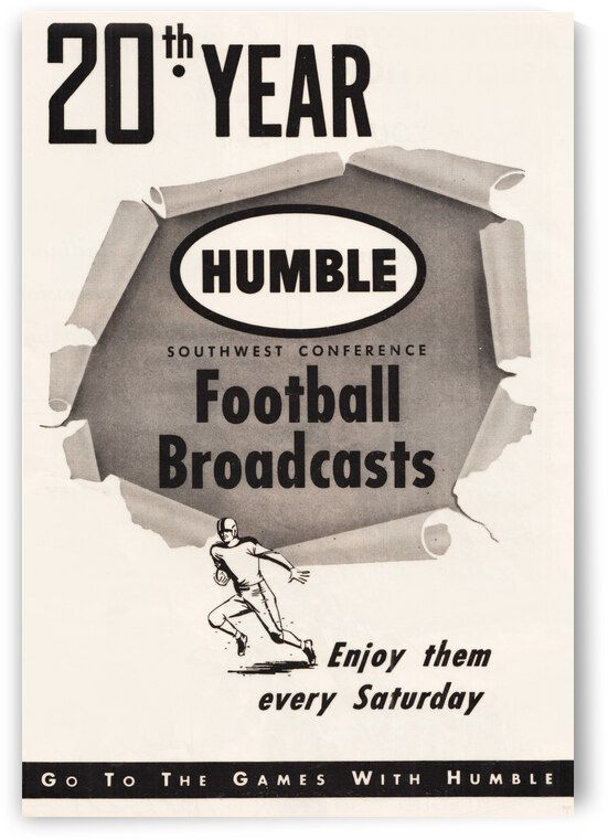 1953 Humble Oil Southwest Conference Football Poster by Row One Brand