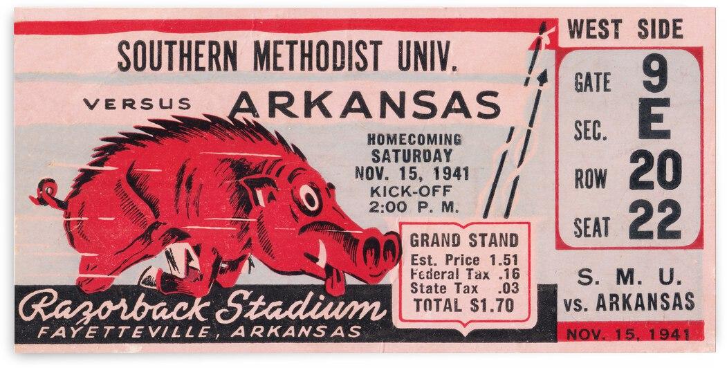 1941 Arkansas Razorbacks vs. SMU Mustangs Ticket Stub Art   Row 1 by Row One Brand