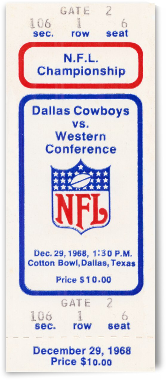 1968 Dallas Cowboys Football Ticket Art | Row 1 by Row One Brand