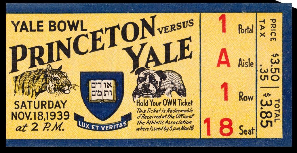 1939 Princeton Tigers vs. Yale Bulldogs | Row 1 by Row One Brand