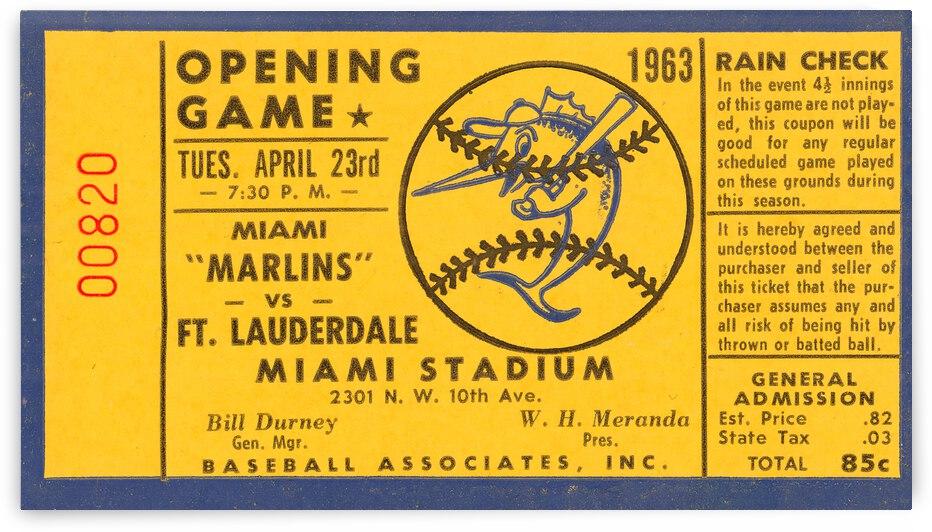1963 Miami Marlins Baseball Ticket Art | Row 1 by Row One Brand