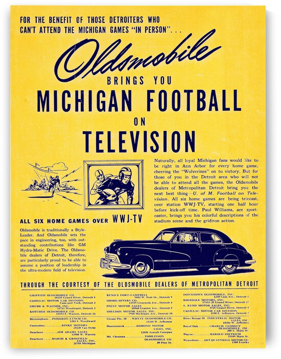 1947 WWJ-TV Oldsmobile Michigan Football Television Ad | Row 1 by Row One Brand