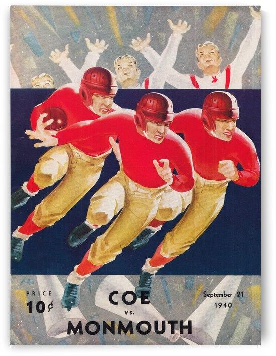 1940 Coe vs. Monmouth Football Art | Row 1 by Row One Brand