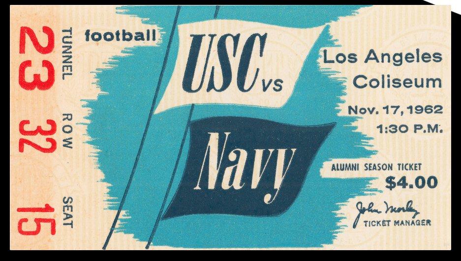 1962 USC vs. Navy Football Ticket Art | Row 1 by Row One Brand