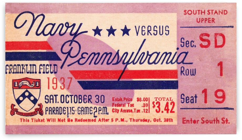 1937 Navy vs. Penn | Football Ticket Stub Art | Row 1 by Row One Brand