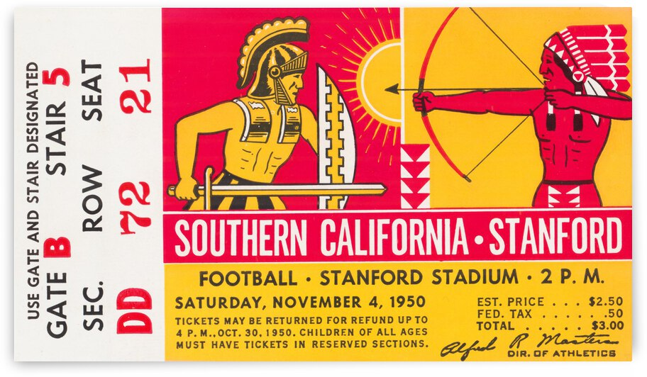 1950 Stanford Indians vs. USC Trojans | Row 1 by Row One Brand