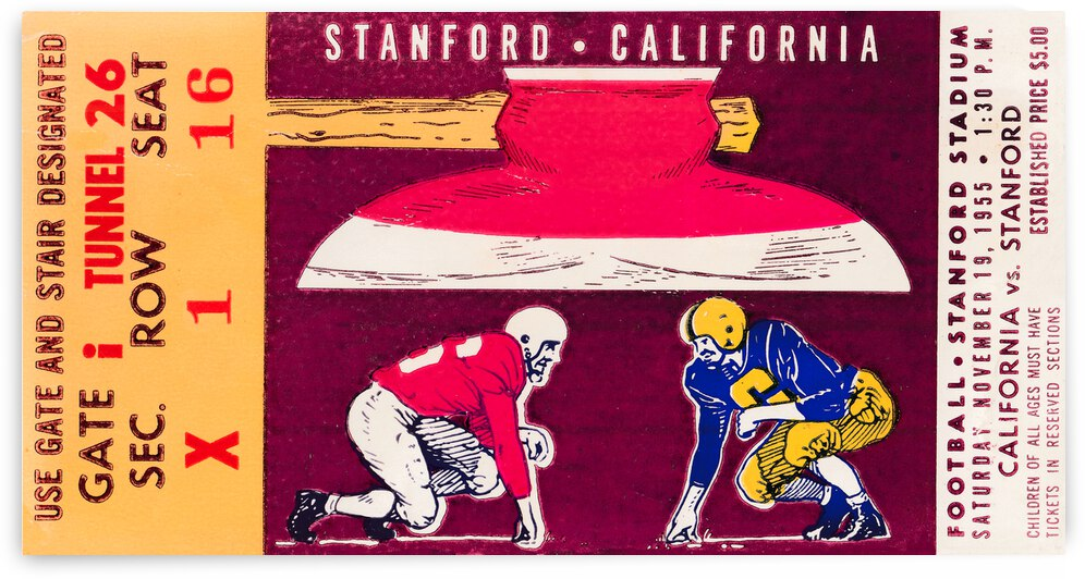 1955 Cal vs. Stanford Big Game Ticket Art | Row 1 by Row One Brand
