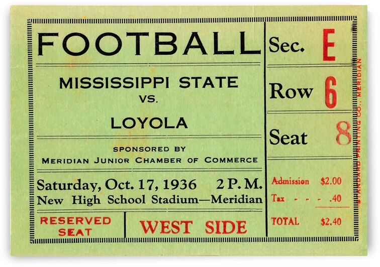 1936 Mississippi State Maroons vs. Loyola College Wolfpack | Row 1 by Row One Brand