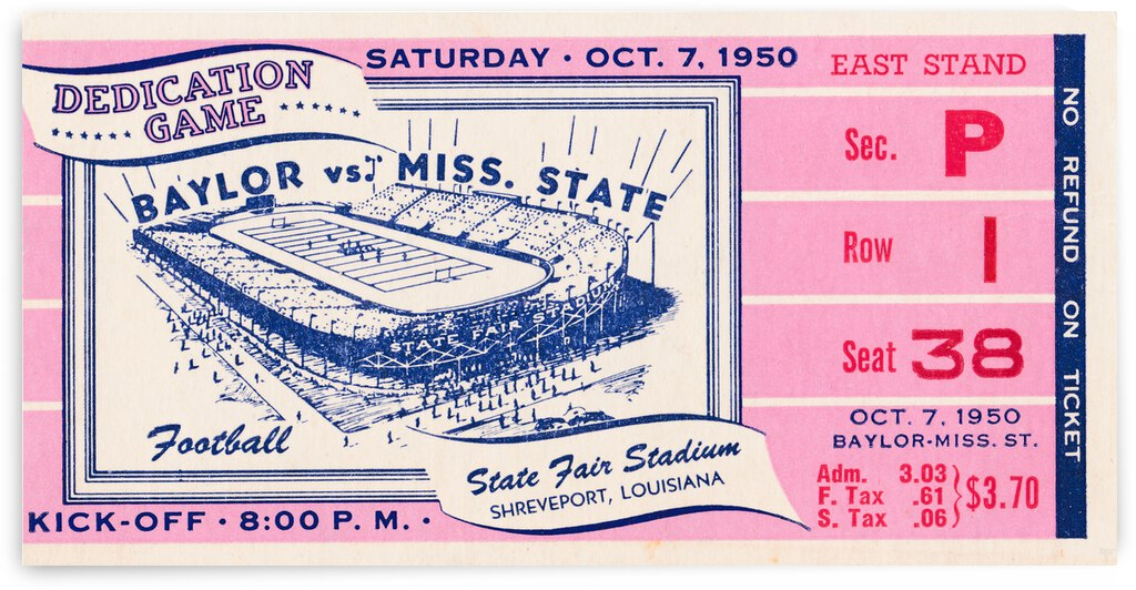 1950 Mississippi State Maroons vs. Baylor Bears | Row 1 by Row One Brand