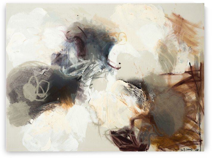 Louisiana Cotton Abstraction with Navy Sepia and Metallic Pewter by Caroline Youngblood