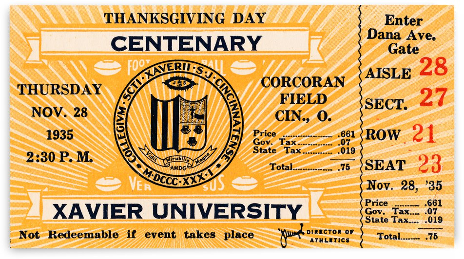 1935 Xavier vs. Centenary | Ticket Stub Art | Row 1 by Row One Brand