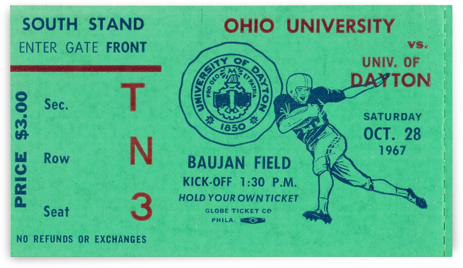 1967 Ohio Bobcats vs. Dayton Flyers | Row 1 by Row One Brand