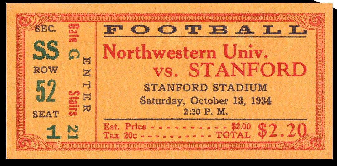 1934 Northwestern vs. Stanford | Row 1 by Row One Brand