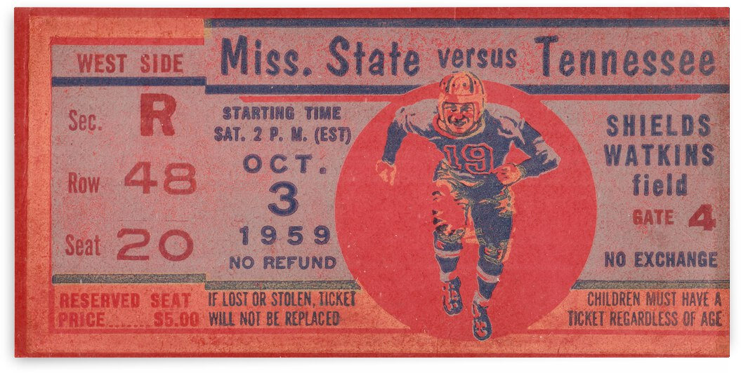 1959 Miss State Bulldogs vs. Tennessee Vols | Row 1 by Row One Brand